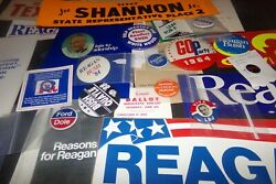 Lot 31 Vintage Political Bumper Stickers Buttons Barry Goldwater Ronald Reagan