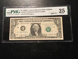 1.00 Federal Reserve Note Straight Seriel No 77777777 Pmg25 Vf Dont See This Oft