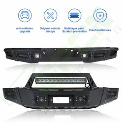 Steel Front / Rear Bumper W/ Led Lights Winch Plate D-rings For 09-14 Ford F150