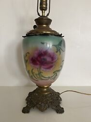 Victorian Antique Glass And Metal Table Lamp Electric Converted From Gas