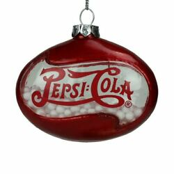 Northlight 3 Red Pepsi Cola Disc Shaped Snow Filled Glass Christmas Ornament