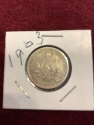 Silver Roughly The Size Of A Dime 1903 France 50 Centimes World Silver Coin 765