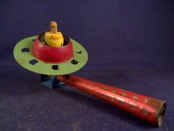Antique Vintage Tin Toy Space Flying Saucer Tin Whistle 30and039s Very Very Rare