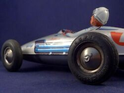 Vintage Tin Toy Large Racing Car Mercedes Number 7 Huki W. Germany 50and039s Rare