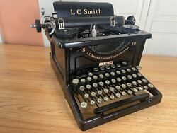 Antique Lc Smith No.8 Typewriter Glossy Working W New Ink
