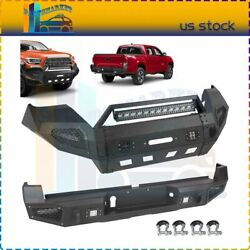 Front / Rear Bumper W/ Led Lights D-rings For 2016-2019 Toyota Tacoma Textured