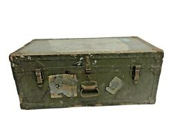 Vintage Military Storage Trunk Flat Top Foot Locker Green Box Us Army Wwii Chest