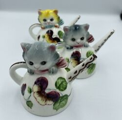 Vintage Py Cat Watering Can Salt And Pepper Shaker Set Made In Japan Collectible