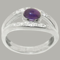 14ct White Gold Natural Amethyst Diamond Womens Band Ring - Sizes J To Z