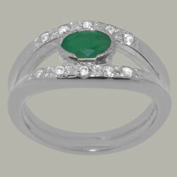14ct White Gold Natural Emerald Diamond Womens Band Ring - Sizes J To Z