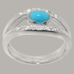 14ct White Gold Natural Turquoise Diamond Womens Band Ring - Sizes J To Z