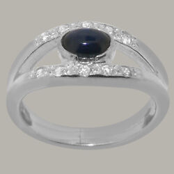 14ct White Gold Natural Sapphire Diamond Womens Band Ring - Sizes J To Z