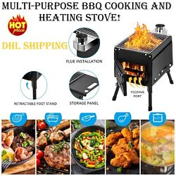Cast Iron Outdoor Camping Stove Portable Wood Burning Bbq Cooking Grill