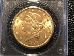 1907 20 Liberty Gold Eagle Pcgs Unc. 60 First Generation Holder