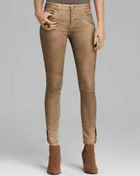 Free People Tan Moto Skinny Exposed Zippier Jeans Womens Size 27 Inseam 28.5andrdquo