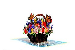 Flower Basket Pop Up Card 3d Popup Greeting Cards Birthday Pop Up For Mother