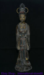 22.8 Antique China Bronze Painting Hand Painted Palace Beautiful Woman Statue