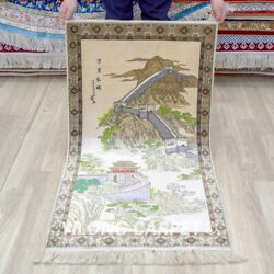 Yilong 2'x4 The Great Wall Design Tapestry Antique Handmade Carpet Silk Rug 007h