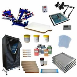 Updated 4 Color 1 Station Exposure Unit And Drying Cabinet Screen Printing Kit Diy
