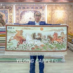 Yilong 2and039x4and039 Eight Horse Tapestry High Density Hand Knotted Carpet Silk Rug 080h