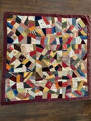 Embroidered Crazy Quiltauthentic Victorian Antique 58andrdquox58 Rare Collectible