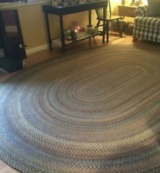 Vintage Oval Multi-colored Large 100 Wool Braided Rug 8 1/2and039 X 11and039 2