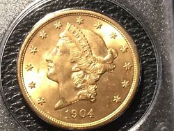 1904 20.00 Liberty Gold Pcgs Unc.62 First Generation Holder Looks Under Graded.