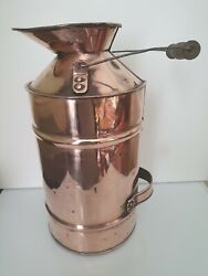 Antique Copper Watering Can Milk Churn Flower Holder Planter Wood And Metal Handle