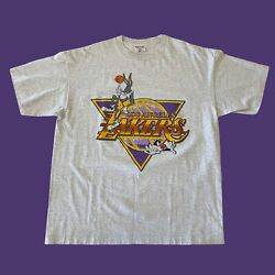 Vintage 90s Los Angeles Lakers Looney Tunes Nba Shirt Bugs Bunny Sylvester Xxl