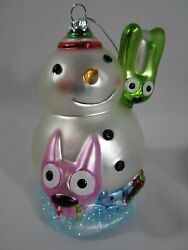 Hoops And Yoyo Snow Buddies Snowman Glitter Glass Ornament Large Size Colorful