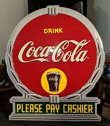 Coca-cola Please Pay Cashier Embossed Diecut Sign 20 X 17 Art Deco Style2005