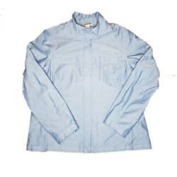 Duluth Trading Chambray Fullzip Up Wmnand039s Sz Xl High Neck Snap Blue Barn Jacket