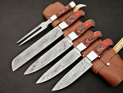 Custom Made Damascus Steel Kitchen Knife, 5pcs Chef Set, Bbq With Leather Sheath