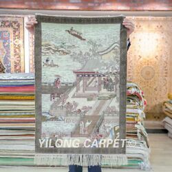Yilong 2'x3' Ancient Handwoven Carpets Silk High Density 500l Tapestry Rug 056h