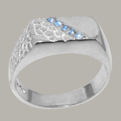 14ct White Gold Natural Blue Topaz Mens Band Ring - Sizes N To Z