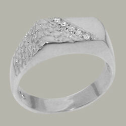 14ct White Gold Natural Diamond Mens Band Ring - Sizes N To Z