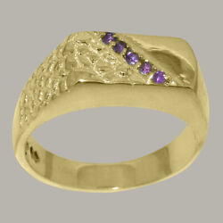 14ct Yellow Gold Natural Amethyst Mens Band Ring - Sizes N To Z