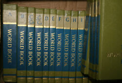 The World Book Encyclopedia 20 Volume Set 1969 Edition Vintage Rare Green And Blue
