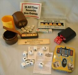 Assorted Lot Dice Games Vintage Poker In Leather Bowling 25 Games