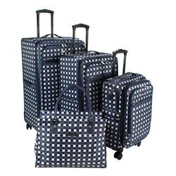 Greenwich Luggage Bag Set 4 Piece Spinner Wheels Soft Side Navy Floral Tile