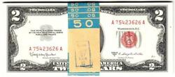 Rare 1953 Pack Of 25 Consecutive Gems Uncirculated Red Seal 2 Dollar Bill-wow