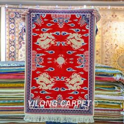 Yilong 2'x3' Red Handwoven Carpets Silk High Density Home Tapestry Area Rug 061h