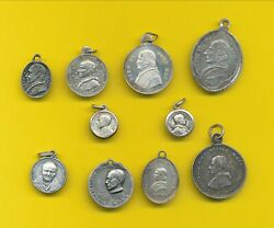 B491 10 Antique Sterling Silver Religious Charm Medal Pendant Pope Medals