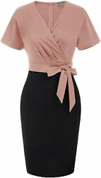 Grace Karin Womenand039s Batwing Sleeve Ruched Wrap V-neck Color Block Pencil Sheath