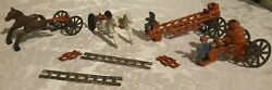 Antique Cast Iron Toy 2 Carriages 4 Horses Fire Truck 2 Ladder Fire Wagon 2 Men