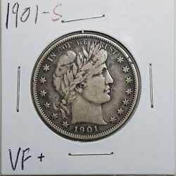 1901-s 50c Barber Liberty Head Half Dollar In Vf+ Condition 04441