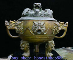 21 Marked Old Chinese Copper Palace Dragon Head Lion Incense Burner Censer