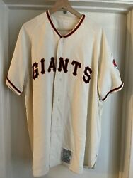 Authentic Willie Mays Mitchell And Ness San Francisco Giants Wool Jersey 48