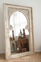 Antique Royal Mirror Indian Hand Carved Wooden Mirror Rustic Indian Mirror