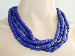 Royal Blue Hand-blown 4 String Glass Necklace 54 Cm Long New